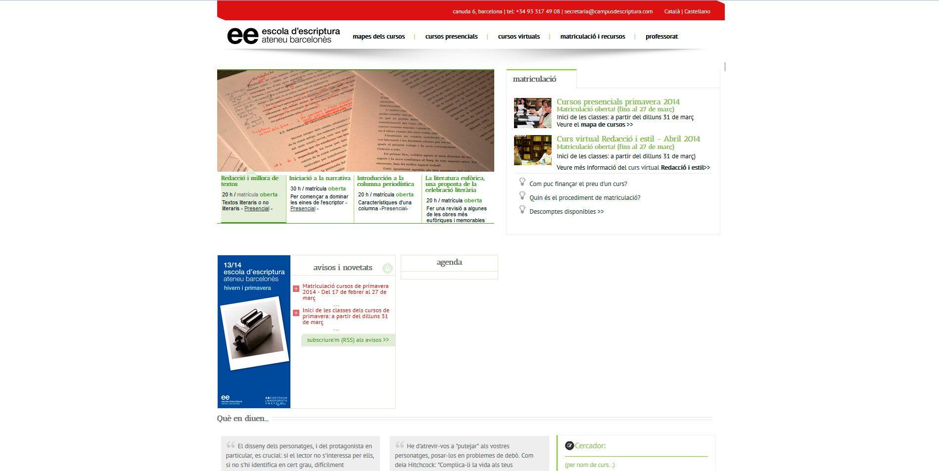 Cursos Escola Escriptura de l'Ateneu Barcelonès